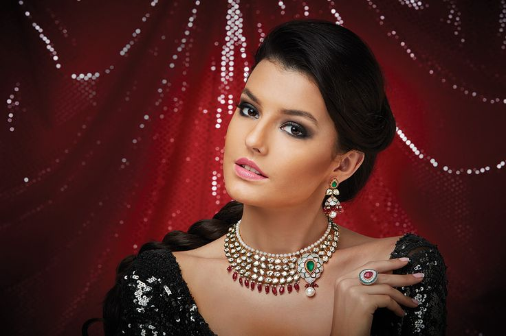 Necklace with Kundan work and Zircon stones in close setting at Kushal's Fashion Jewellery