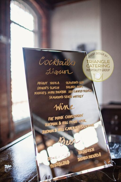 Chic mirror bar menu for a wedding at The Cotton Room in Durham, NC #triangleweddings