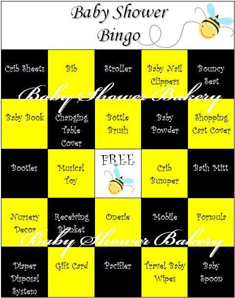 Bee Theme Baby Shower Bingo Bumble Bee Baby by BabyShowerBakery