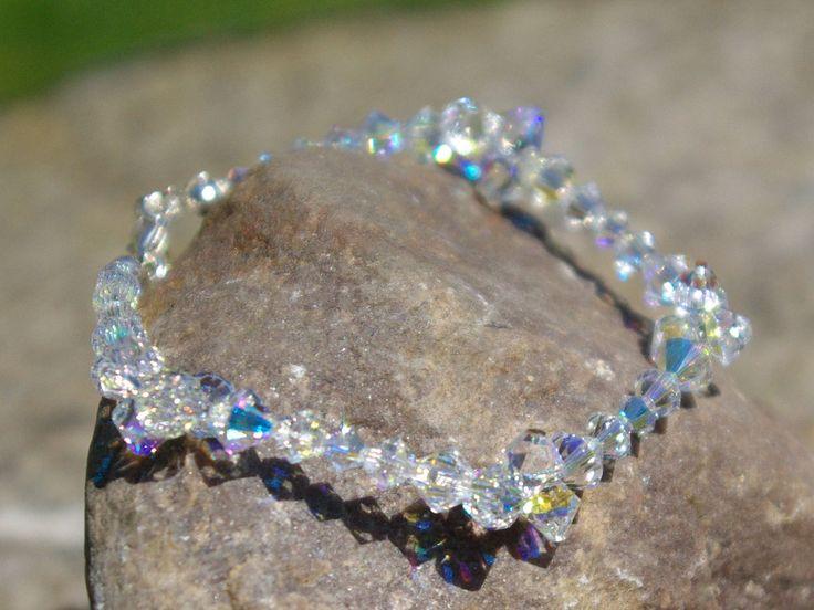 Swarovski AB Bracelet Clear Crystal Bracelet Bridal Crystal Bracelet Swarovski Jewelry Everyday Bracelet Bridesmaid Bracelet Sterling Silver by AuroraCrystalPassion on Etsy