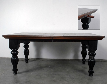 distressed black farmhouse dining table french country 108 5 long crank legs the o 39 jays and. Black Bedroom Furniture Sets. Home Design Ideas