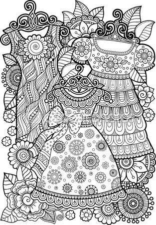 Libro de colorear. Vestido vintage — Stock Illustration #105467400                                                                                                                                                                                 Más