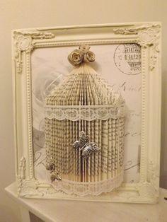 cage à oiseau shabby chic art de pliage Origami livre. dans un cadre shabby chic taille cadre est 10 x 8