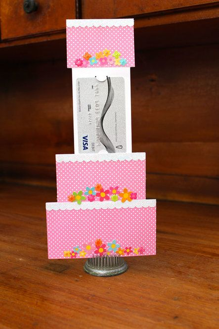 Create a cake shaped card with a pull out gift card holder. …