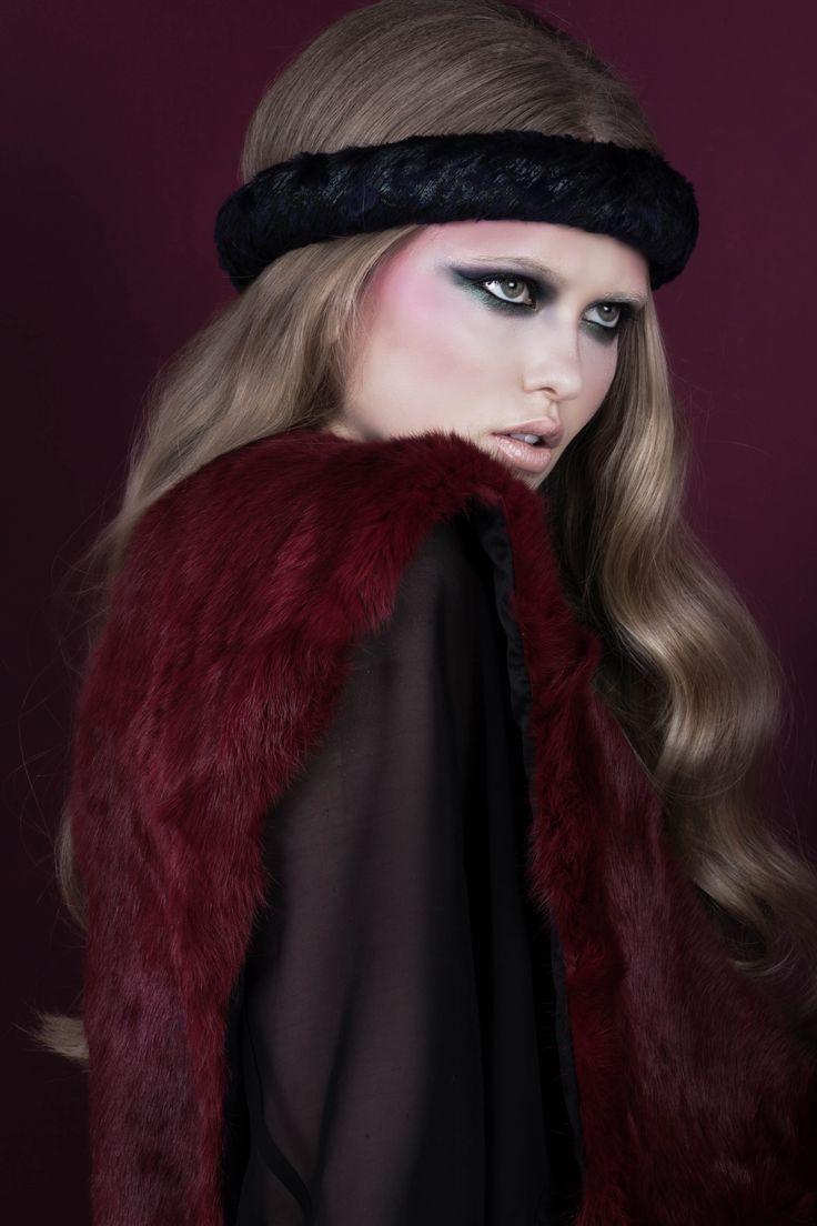 """Peacock"" velvet headband; Bordeaux rabbit fur stole // © MORECCO 2014"
