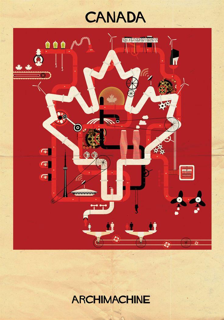 """Galeria - ARCHIMACHINE: 17 países ilustrados como """"máquinas arquitetônicas"""" - 111"""