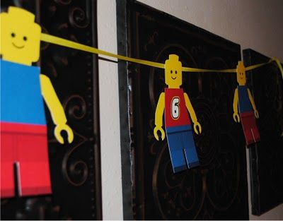 "LEGO party guy banner;  printables for age 6, 7, 8, a plain guy and a ""Happy Birthday"" guy."