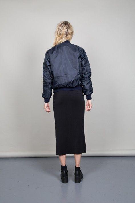 Nordic Poetry's vintage renewal 90's navy blue bomber jacket