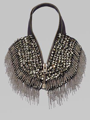 Vera Wang glass stone & fringe necklace $950