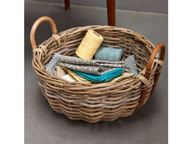 We all adore these lovely Rustic Round Grey #Baskets. hand woven from ultra chunky, hard wearing grey rattan with an innovative cane loop handle detail. Perfect as a fruit bowl or on the hall table as a holder for keys, sunglasses etc. #Livingroom #Home #Storage