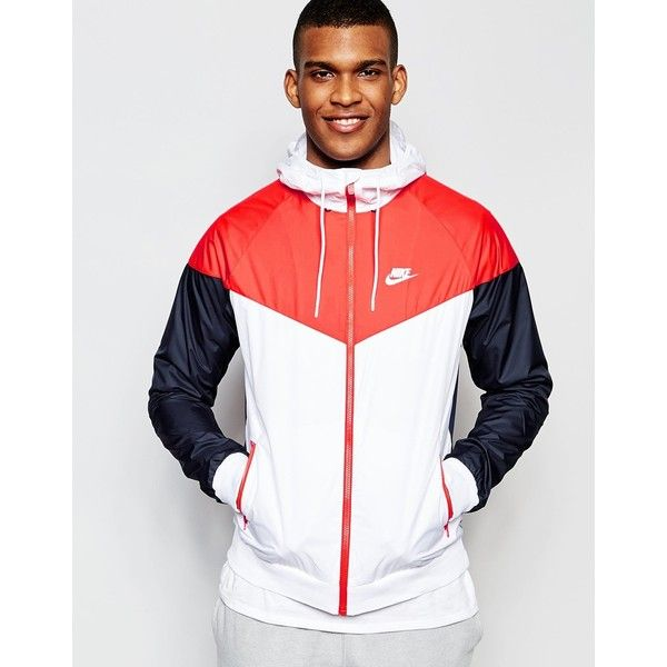 Nike Wind Breaker Jacket 727324-100 ($63) ❤ liked on Polyvore featuring men's fashion, men's clothing, white, nike mens clothing, tall mens clothing and nike mens apparel