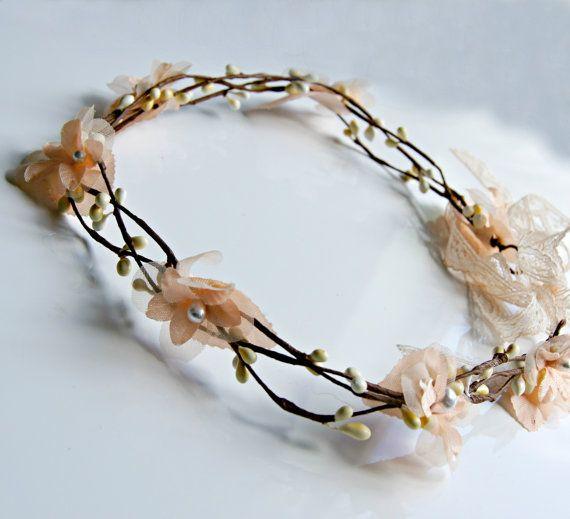 Flower Crown  wedding wire vine crown  Peach rustic by NautilusJAP, $45.00