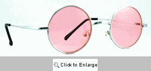 Small Round Metal Spectacles Sunglasses - 408 Pink