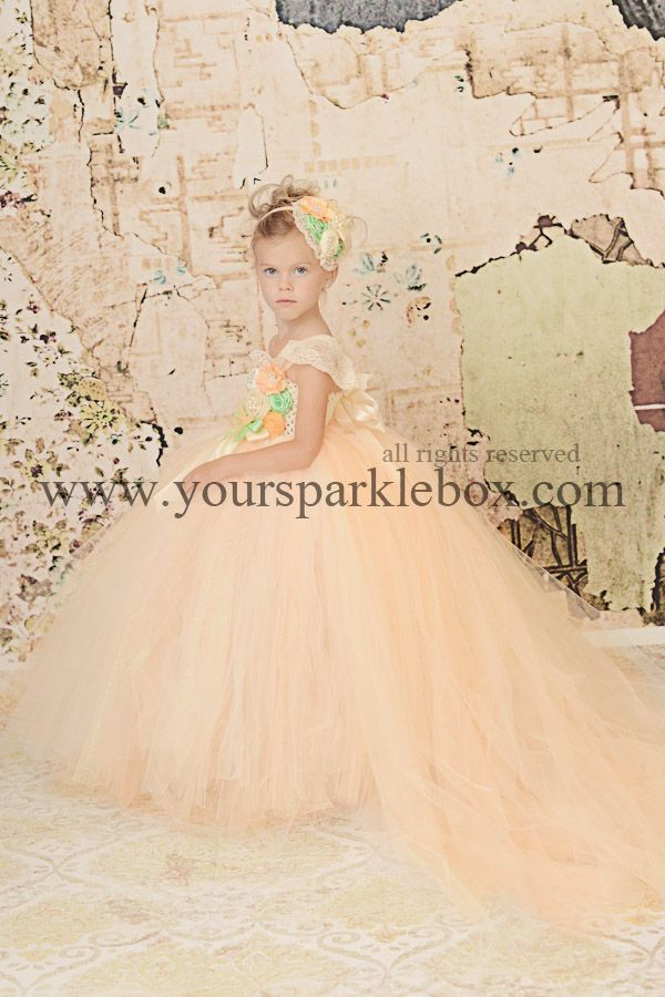 Peach and Mint Perfection Flower Girl tutu dress by YourSparkleBox with optional detachable train