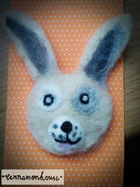Bunny    felt brooch. Handmade one on it's kind. by cinnamonnhouse