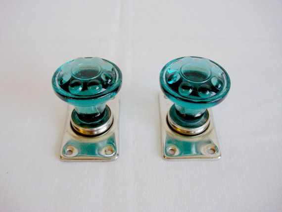 Vintage Turquoise Glass Decorative Doorknobs 1960s