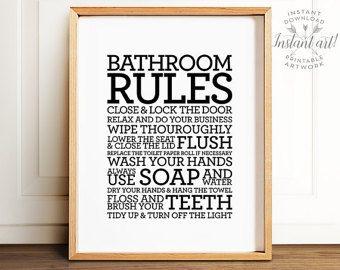 Trend Bathroom rules sign PRINTABLE art Bathroom decor Bathroom printable art Flush toilet