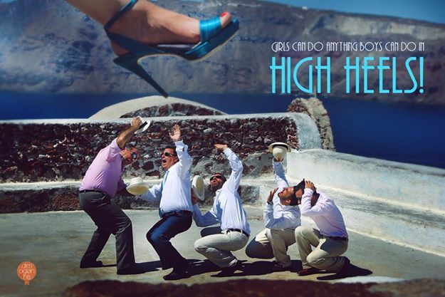 Girls can do anything boys can do in high heels! Wedding in Santorini, Greece.   #wedding #photography #Santorini