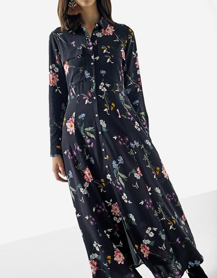 Μακρύ φόρεμα print φλοράλ - Μπουφαν | Stradivarius Greek