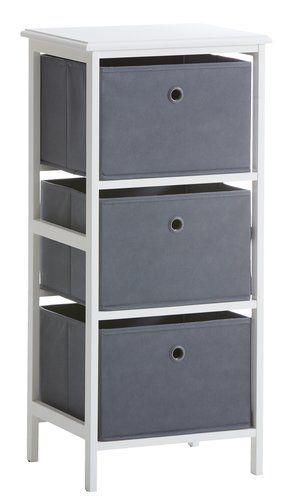 Byrå ODBY 3 lådor vit/grå   JYSK