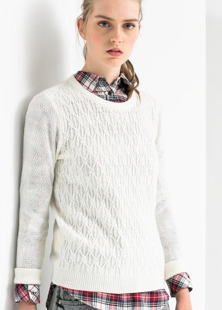 Wełniany sweter ze ściegiem w ósemki