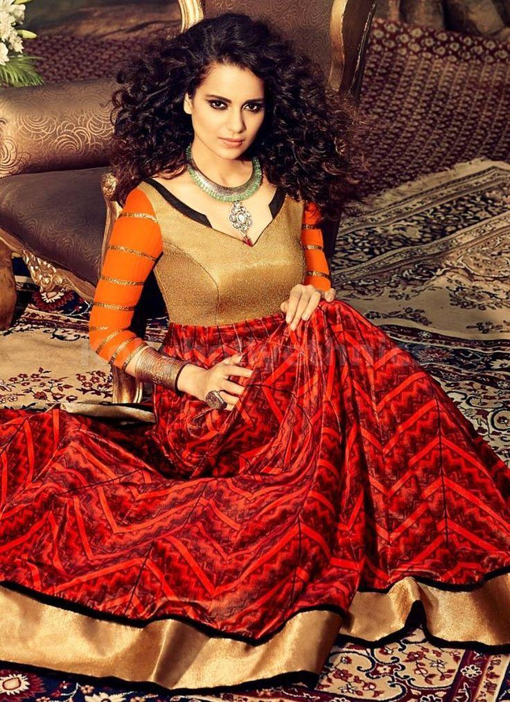 Buy Designer Red Orange Georgette Anarkali Suit at KollyBollyEthnics