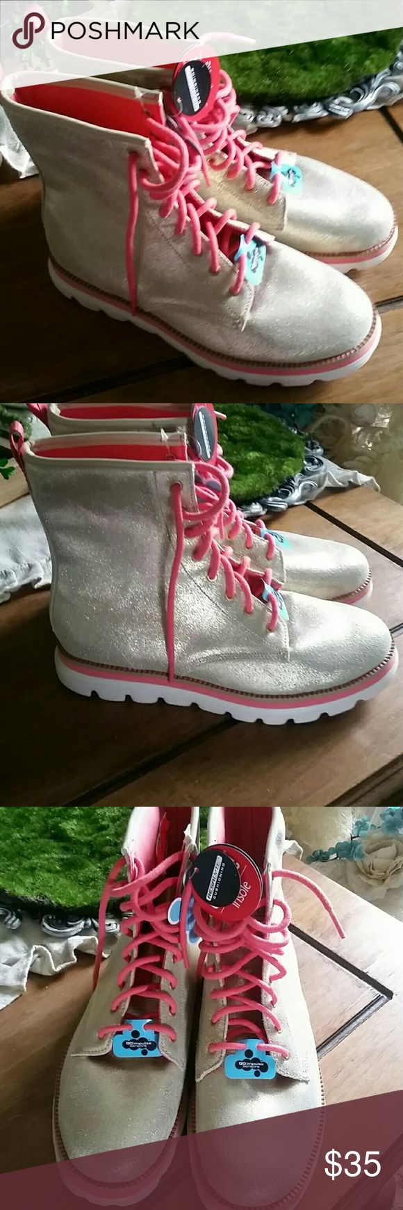 Skechers boots The Sketcher boots are made of leather in a gold color trimmed in a pink salmon color they are brand-new without the Box never worn Skechers Shoes Ankle Boots & Booties