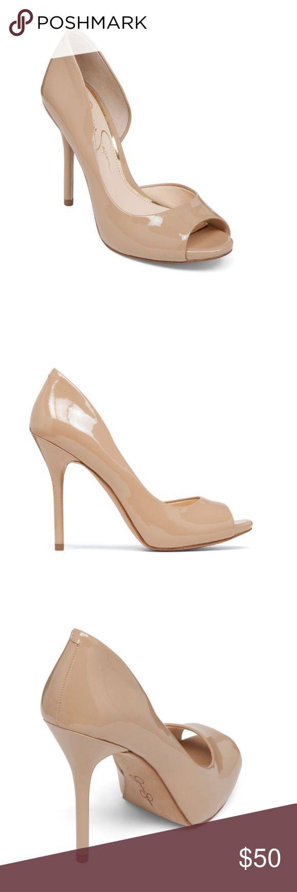 Jessica Simpson Peep toe pumps! Cute nude never worn Jessica Simpson heels. Size 7 1/2.                             Bibi Peep toe pumps Jessica Simpson Shoes Heels