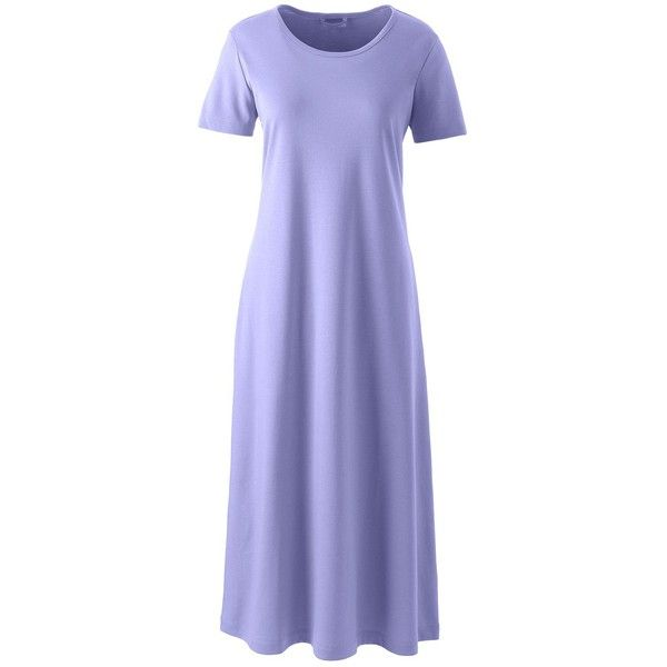 Lands' End Women's Petite Supima Cotton Midcalf Nightgown ($45) ❤ liked on Polyvore featuring intimates, sleepwear, nightgowns, purple, cotton nightgowns, lands' end, cotton sleep wear, petite sleepwear and cotton nightie