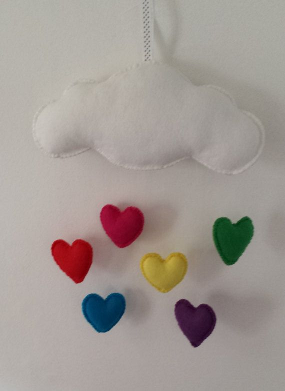 Cloud and Heart Felt Baby Mobile by funkyfelts1 on Etsy