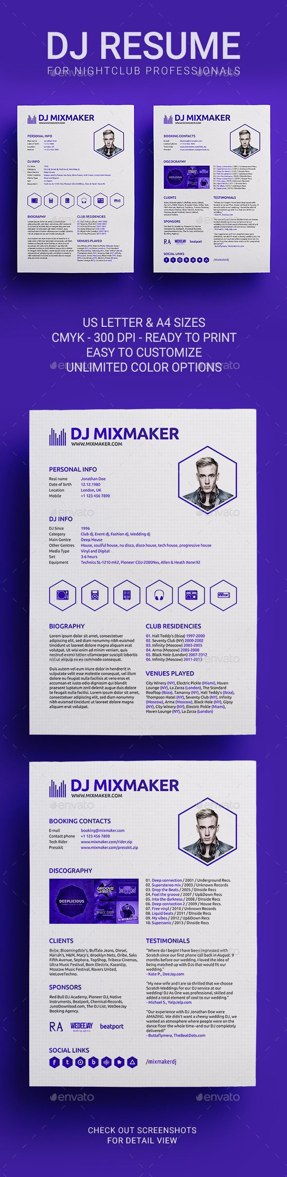 22 Best Dj Press Kit And Dj Resume Templates Images On Pinterest