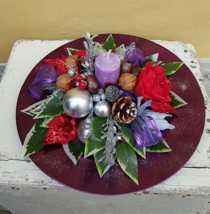 centrotavola natalizio lilla e verde