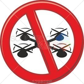 Red circle prohibition vector sign no drones on white square