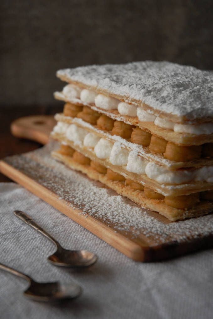 Maple mille feuille with homemade puff pastry, maple pastry cream, and whipped cream. Make your own--click to get the recipe!