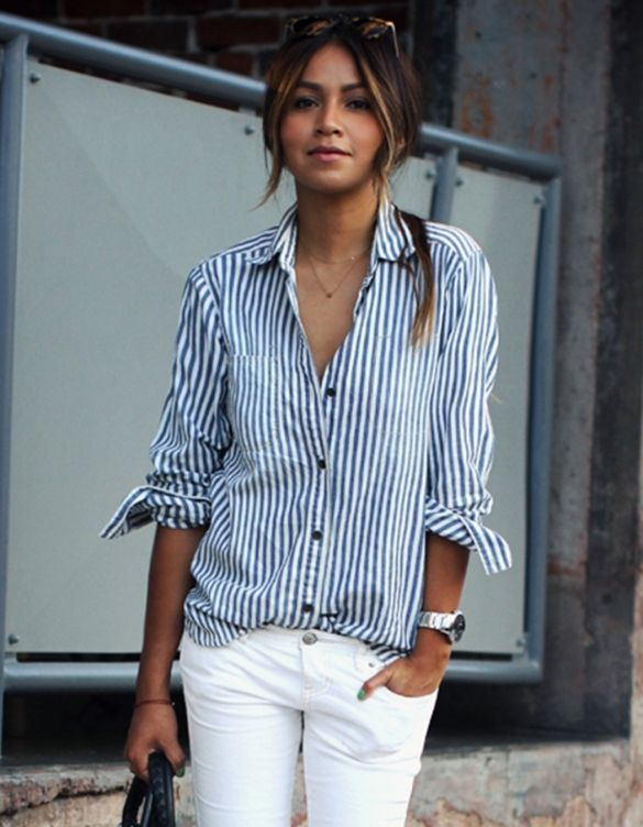 $8.91Stylish Ladies Women Turn-down Collar Vertical Striped Casual Shirt Blouse