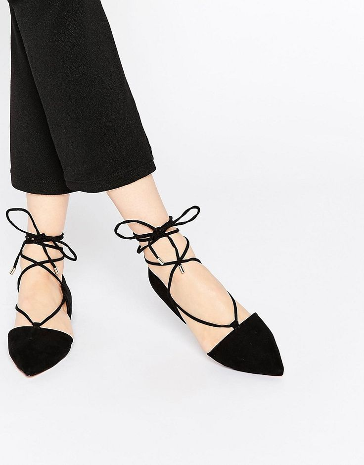 Fede ASOS LOCKET Lace Up Pointed Ballet Flats - Black ASOS Flade Sko til Damer til hverdag og fest