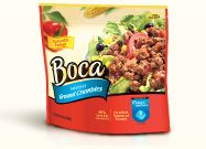 Boca Ground Crumbles - a very good substitute for ground meat in chili and sloppy joes, just keep in mind that it is not a whole plant food in its natural packaging and so should not be overly emphasized in your meals