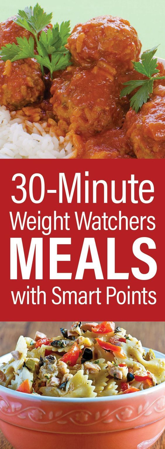 30-Minute Weight Watcher Meals With SmartPoints including Turkey Meatballs, Chicken Noodle Soup, Balsamic Chicken, Barbecue Chicken, Taco Salad, Copycat Chili's Grilled Chicken Sandwich, Salisbury Steak, Pasta Salad, Tortilla Soup, Linguine, and more!