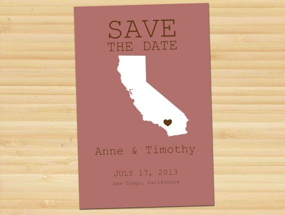 State Outline Heart Marks The Spot Save The Date