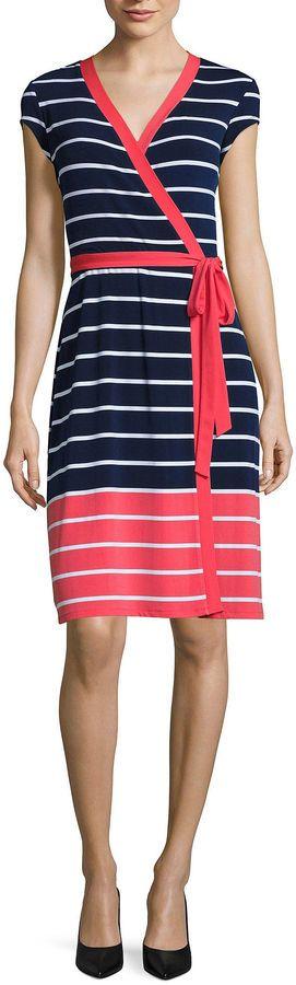 Liz Claiborne Short Sleeve Stripe Wrap Dress