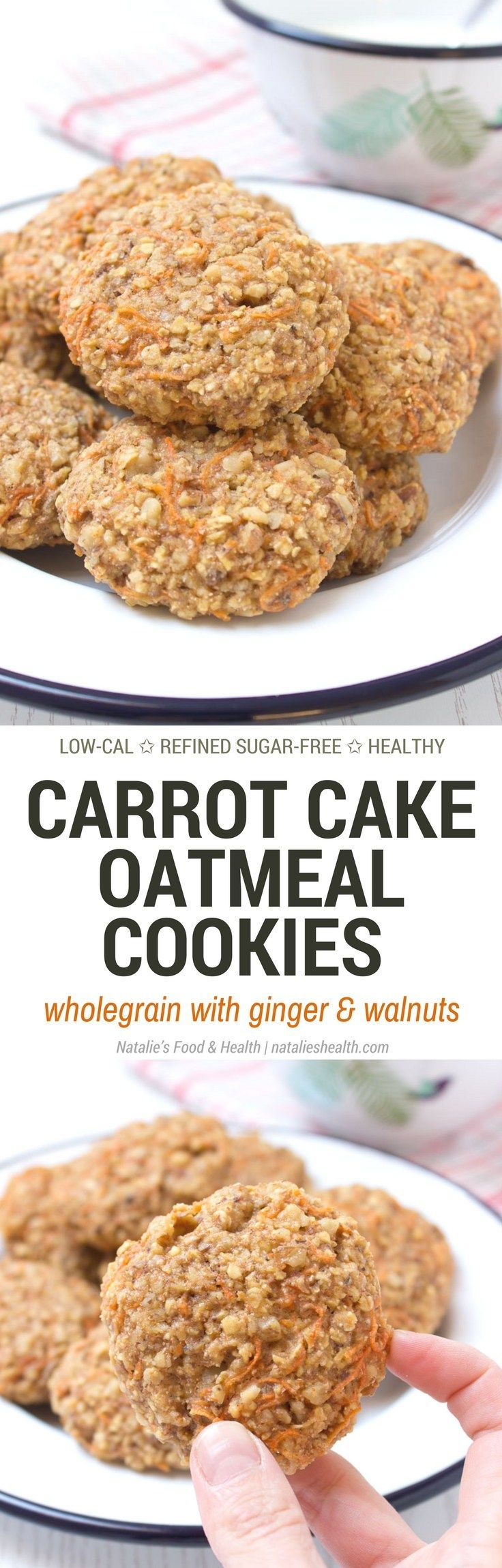 Healthy wholegrain Carrot Cake Oatmeal Cookies filled with oats, grated carrots, ginger, and walnuts. These cookies are low-fat, refined sugar-free, kid-friendly and super easy to make. Perfect breakfast or snack.