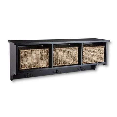 Threshold Entryway Organizer Shelf with Seagrass Baskets, Hooks and Nameplates