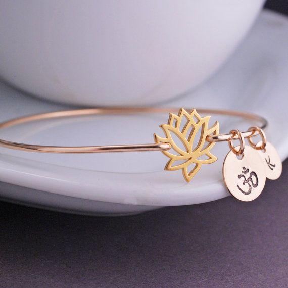 Yogi Gift Gold Lotus Jewelry Lotus Flower Bangle by georgiedesigns