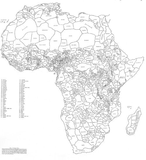 """How Africa Would Look Like if its Borders Were Defined By Ethnicity and Language. By George Peter Murdock,1959"""