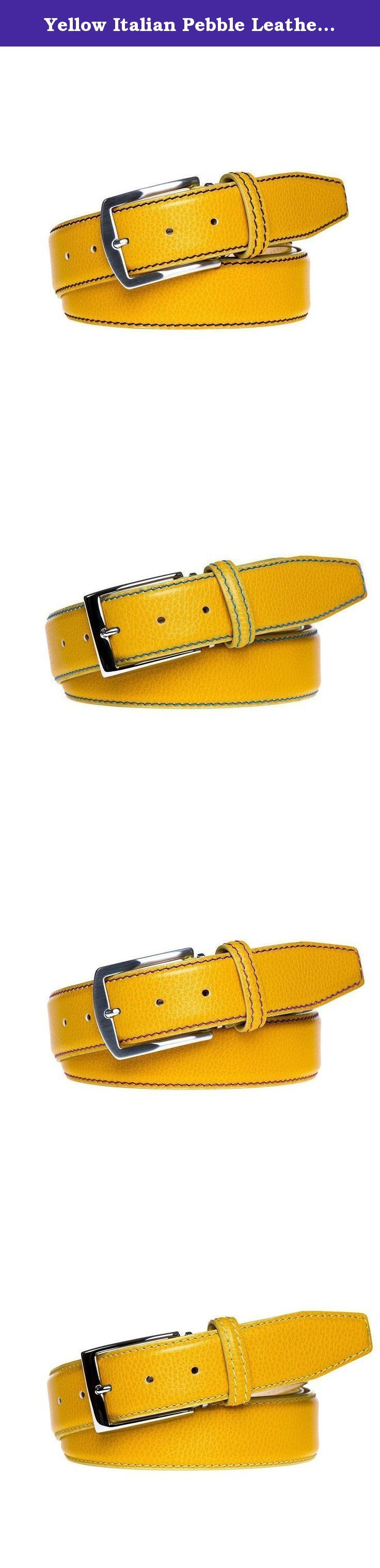 Yellow Italian Pebble Leather Belt. Made from 100% Italian Calf Leather and handmade to order. All of our leather products are made in the USA. Each belt is designed with a Nubuck lining and solid brass palladium buckle to ensure extra durability. In addition, each belt comes with a signature travel bag to store your belt in.