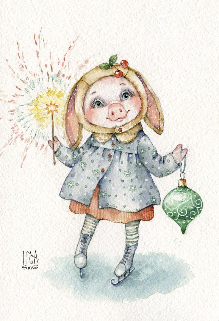 Инга Измайлова свинка новый год фейерверк праздник зима коньки Inga Izmaylova SmG