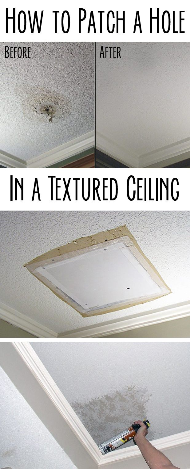 How to Patch a Hole in a Textured Ceiling in 2019  For a Home Sweet Home  Ceiling texture Diy