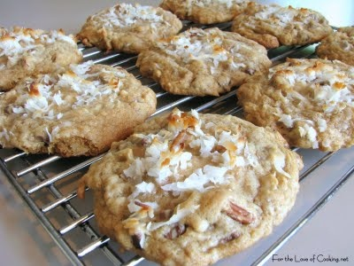 Coconut Pecan Cookies  1/2 cup butter  1/2 cup sugar  1/4 cup brown sugar  1/8 tsp baking soda  1 egg  1tsp vanilla  1 cup flour  1 cup chopped pecans  1 cup shredded coconut    375 for 8-10 min, 36 cookies