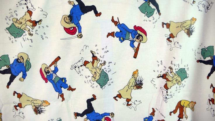 Tintin Fabric with original Herge illustrations