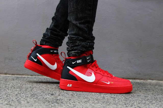 First Look Nike Air Force 1 Mid 07 Lv8 Utility Red Nike Air Shoes Sneakers Men Fashion Sneakers Fashion